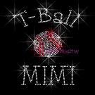 T-Ball MIMI - C Rhinestone Iron on Transfer Hot Fix Bling Sports - DIY