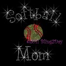 Softball Mom - C Rhinestone Iron on Transfer Hot Fix Bling Sports - DIY