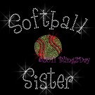 Softball Sister - C Rhinestone Iron on Transfer Hot Fix Bling Sports - DIY