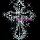 Silver Cross Bling Rhinestone Iron on Transfer Hot Fix Bling - DIY