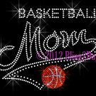 MOM Banner Tail - Basketball Mom - Rhinestone Iron on Transfer Hot Fix Bling School Sports - DIY