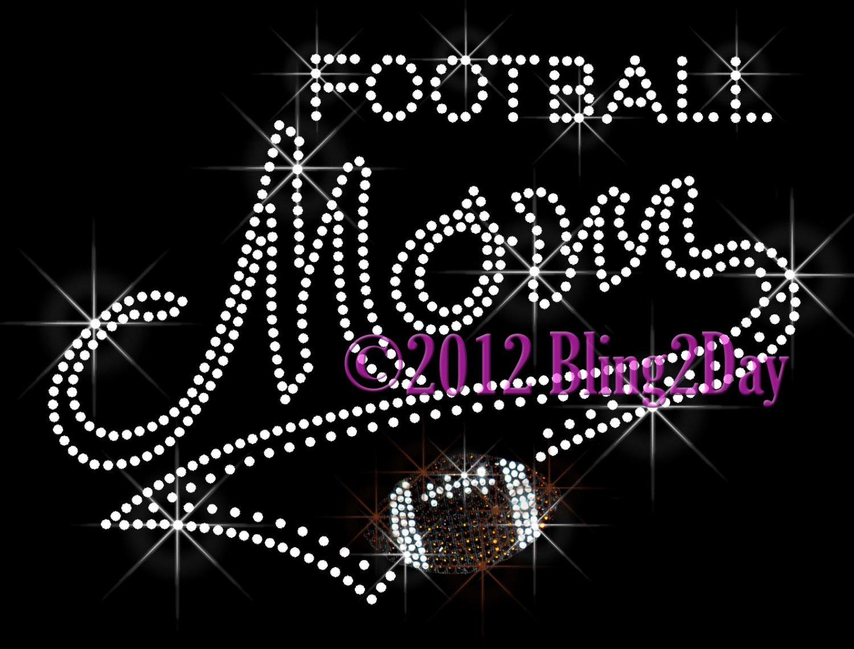 MOM Banner Tail - Football Mom - Rhinestone Iron on Transfer Hot Fix Bling School Sports - DIY