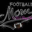 MOM Banner Tail - Football Mom - Rhinestone Iron on Transfer Hot Fix Bling School Sports - DIY