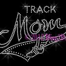 MOM Banner Tail - Track Mom - Rhinestone Iron on Transfer Hot Fix Bling School Sports - DIY