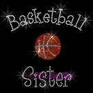Basketball Sister - C Rhinestone Iron on Transfer Hot Fix Bling Sports - DIY