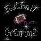 Football Grandma - C - Iron on Rhinestone Transfer Hot Fix Bling Sports - DIY