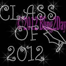 Class of 2012 - Iron on Rhinestone Transfer Hot Fix Bling Sport School - DIY