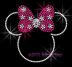 Minnie Mouse with Hot Pink Polka Dot Bow Rhinestone Iron on Transfer Hot Fix Bling Mom Kids - DIY