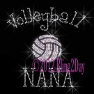 Volleyball NANA - C - Iron on Rhinestone Transfer Hot Fix Bling Sports - DIY