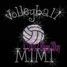 Volleyball MIMI - C - Iron on Rhinestone Transfer Hot Fix Bling Sports - DIY