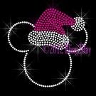 Christmas Minnie Hot Pink Santa Hat Rhinestone Iron on Transfer Hot Fix Bling Mouse Mom Kids - DIY
