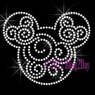 Mickey Swirl - CLEAR - Rhinestone Iron on Transfer Hot Fix Bling Mouse Mom Kids - DIY