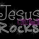 Jesus Rocks - CLEAR - Rhinestone Iron on Transfer Hot Fix Bling Christmas Religion - DIY