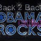 Back 2 Back Obama Rocks - BLUE - Rhinestone Iron on Transfer Hot Fix Bling - DIY