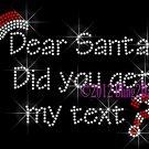 Dear Santa - Did you get my text? - Rhinestone Iron on Transfer Hot Fix Bling Christmas Hat - DIY