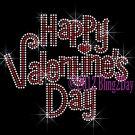 Happy Valentine's Day - Rhinestone Iron on Transfer Hot Fix Bling Heart - DIY