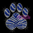 (L) Zebra Royal Blue Paw Print Rhinestone Iron on Transfer Hot Fix Bling Mascot Mom - DIY
