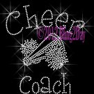 Cheer Coach - C Rhinestone Iron on Transfer Hot Fix Bling Sports - DIY