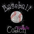 Baseball Coach - C Rhinestone Iron on Transfer Hot Fix Bling Sports - DIY