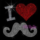 I Love Mustache - Red Heart - Rhinestone Iron on Transfer Hot Fix Bling Cancer - DIY