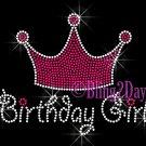 Birthday Girl with Crown Rhinestone Iron on Transfer Hot Fix Bling - DIY