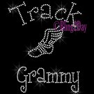 Track Grammy - C - Rhinestone Iron on Transfer Hot Fix Bling School Sport - DIY