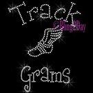 Track Grams - C - Rhinestone Iron on Transfer Hot Fix Bling School Sport - DIY