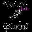 Track Grandma - C - Rhinestone Iron on Transfer Hot Fix Bling School Sport - DIY
