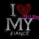 I Love My Fiance - Red Heart - Rhinestone Iron on Transfer Hot Fix Bling Husband To Be - DIY