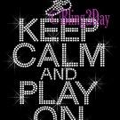 Keep Calm and Play On - TRACK - Rhinestone Iron on Transfer Hot Fix Bling School Sport Mom - DIY