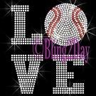 LOVE - Baseball - 2 Line Version - Iron on Rhinestone Transfer Sport Mom - DIY