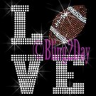 LOVE - Football - 2 Line Version - Iron on Rhinestone Transfer Sport Mom - DIY
