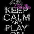 Keep Calm and Play On - FROG - Rhinestone Iron on Transfer Hot Fix Bling School Mascot Mom - DIY