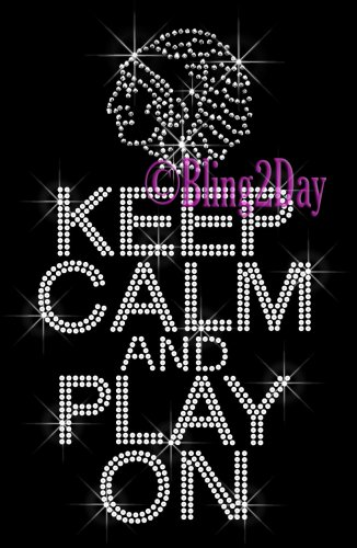 Keep Calm and Play On - INDIANS - Rhinestone Iron on Transfer Hot Fix Bling School Mascot Mom - DIY