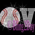 LOVE - Baseball - 1 Line Version - Iron on Rhinestone Transfer Sport Mom - DIY