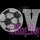 LOVE - Soccer - 1 Line Version - Iron on Rhinestone Transfer Sport Mom - DIY