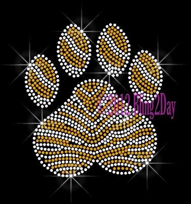 (L) Zebra Gold Paw Print Rhinestone Iron on Transfer Hot Fix Bling School Mascot - DIY
