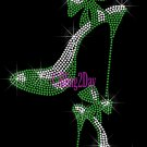 High Heel Set - GREEN - Iron on Rhinestone Transfer Fashion Diva - DIY