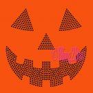 Pumpkin Face - BLACK - Jack O Lantern - Iron on Rhinestone Transfer Hot Fix Halloween Bling - DIY