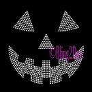 Pumpkin Face - CLEAR - Jack O Lantern - Iron on Rhinestone Transfer Hot Fix Halloween Bling - DIY
