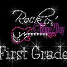 Rockin - First Grade - Pink Guitar - Rhinestone Iron on Transfer Hot Fix Bling 1st School - DIY