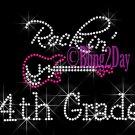 Rockin - 4th Grade - Pink Guitar - Rhinestone Iron on Transfer Hot Fix Bling Fourth School - DIY