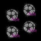 Set of 4 Soccer - Iron on Rhinestone Transfer Hot Fix Bling Sports - DIY