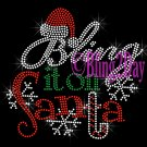 Bling it on Santa - Candy Cane Snowflake - Rhinestone Iron on Transfer Hot Fix Christmas Hat - DIY