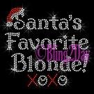 Santa's Favorite - BLONDE - Rhinestone Iron on Transfer Hot Fix Bling Merry Christmas - DIY