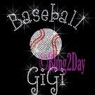 Baseball GiGi - C Rhinestone Iron on Transfer Hot Fix Bling Sports - DIY