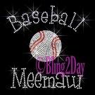 Baseball Meemaw - C Rhinestone Iron on Transfer Hot Fix Bling Sports - DIY