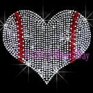 Large Baseball Heart - Rhinestone Iron on Transfer Hot Fix Bling Sports School - DIY