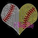 Large Split Sports Heart - Baseball Softball - Rhinestone Iron on Transfer Hot Fix Bling School