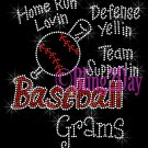 Baseball Grams - Home Run, Support Team - Iron on Rhinestone Transfer Sport Mom - DIY